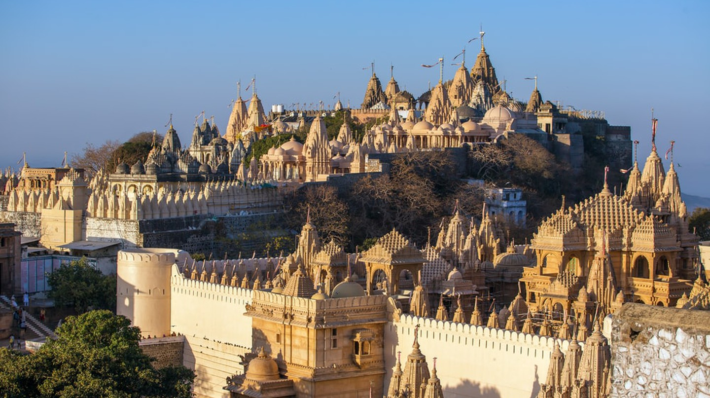Jain temples on top of Shatrunjaya hill in Palitana, Gujarat, India