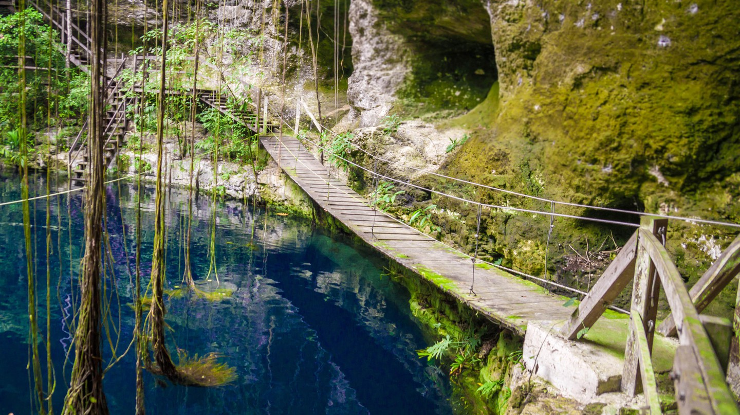 X'Canche Cenote cenote is close to Ek Balam near Valladolid, Yucatan peninsula, Mexico.