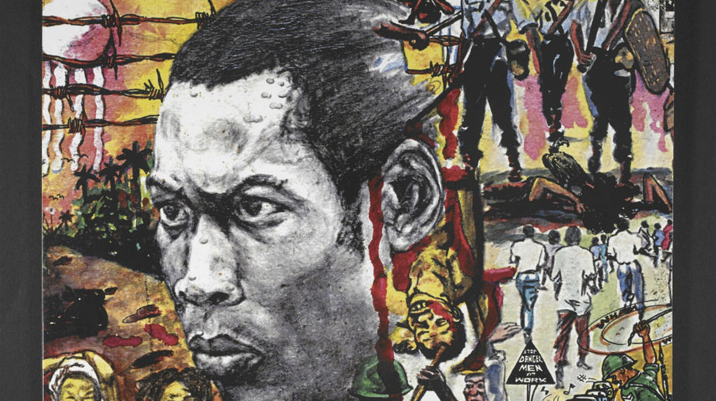 The album artwork for Fela Kuti's 'Sorrow Tears and Blood' designed by Lemi Ghariokwu, 1977. On display in West Africa: Word, Symbol, Song  / Courtesy of Lemi Ghariokwu and British Library