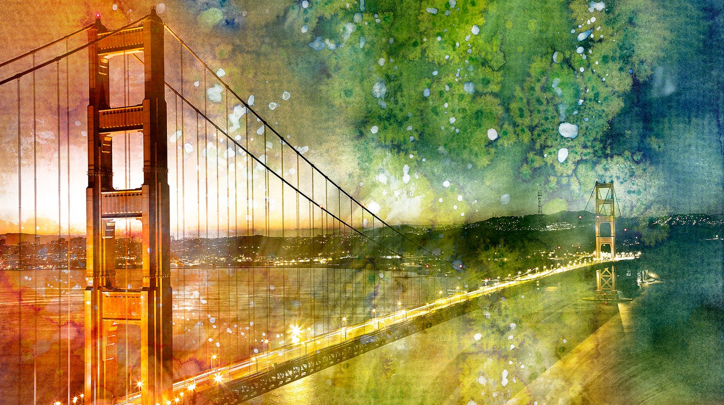 Golden Dawn Bridge watercolor © Nicolas Raymond/Flickr