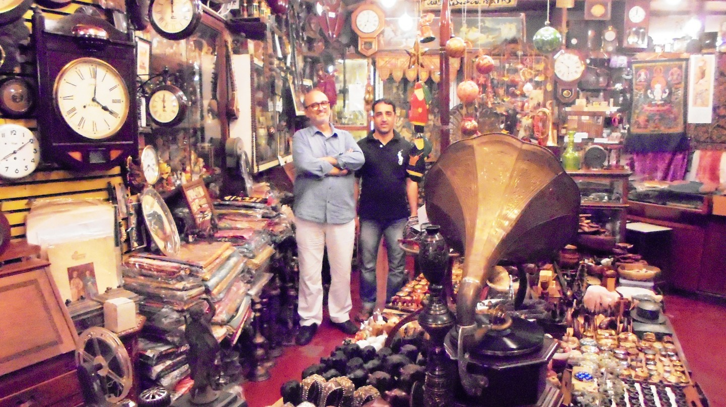 Mohamed Lateef and Bashir posing among curios, Old Curiosity Shop © Aprameya Manthena