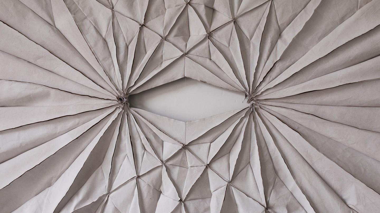 Alke Reeh Sewn Blanket - Two Centres, (Decke genäht - Zwei Zentren)  2012 240 cm. × 270 cm. Image courtesy : Farah Siddiqui