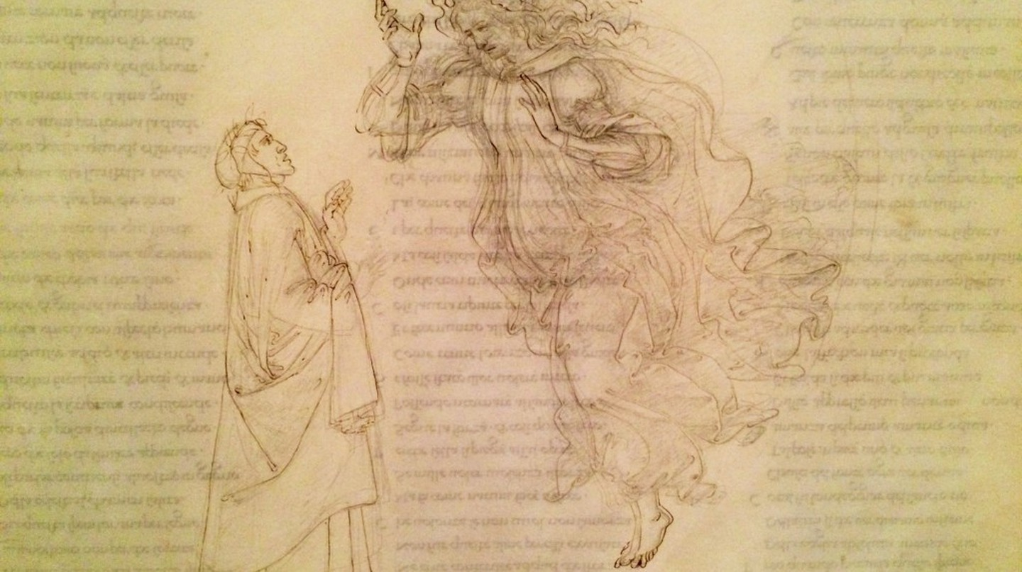 Botticelli, Paradiso V – The face of Beatrice was originally drawn looking up and is still slightly visible | © A.Winners