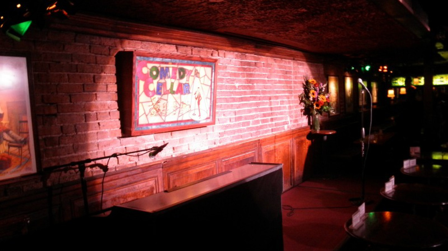 "The Comedy Cellar stage, one of the locations that the ""Louie"" show is filmed."