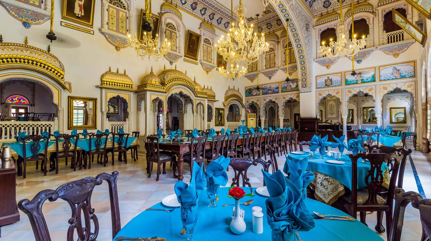 Darbar hall of Alsisar Mahal, now serves as a dining room.