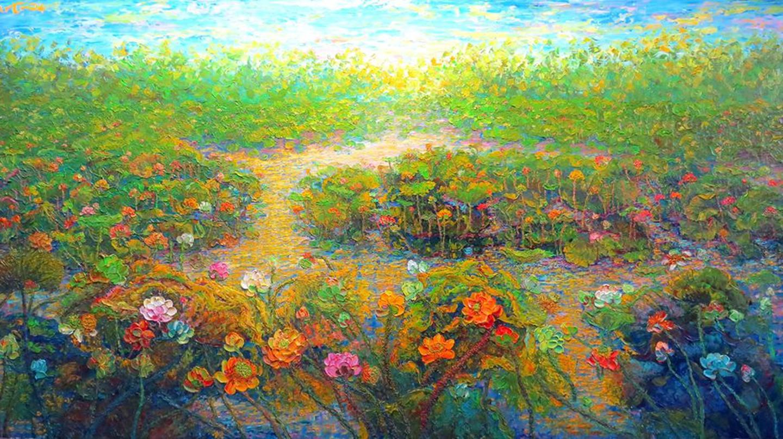 Tuyen Vu, The Season of Love, 2013. Oil on canvas, 96 x 160 cm (Private Collection, Korea)   © Tuyen Vu with permission of the artist.