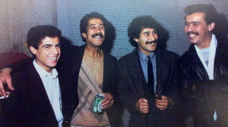 Festival de la chanson Raï en France (1986), from left to right : Cheb Mami, Khaled, Cheb Hamid, Cheb Sahraoui | © Saber68/Wikicommons