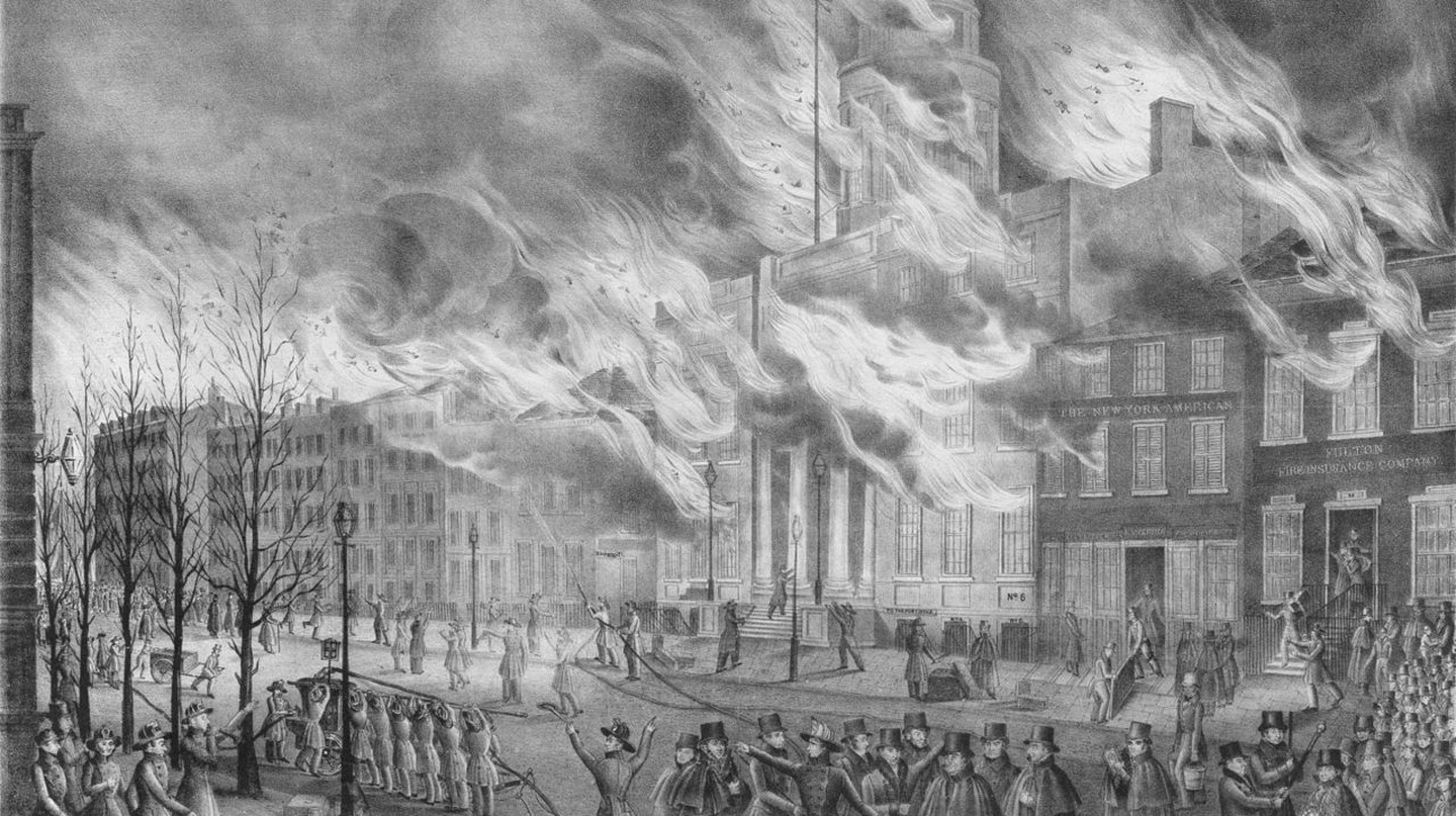 The Great Fire of the City of New York Dec 16 1835 | © Robinson (publisher 1836); drawn by Hoffy, printed and colored by J. T. Bow[er?]/WikiCommons