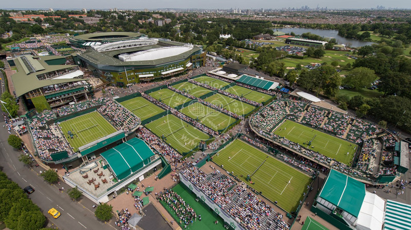 An aerial view of Wimbledon