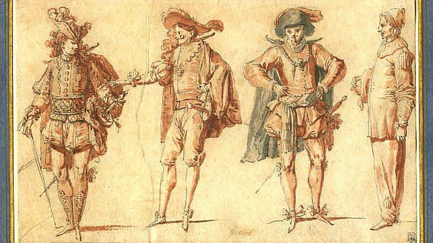 Four Commedia dell'Arte Figures. Pen and black ink, grey and red wash, 11.7 x 19 cm by Claude Gillot |© Андрей Романенко/Wikicommons