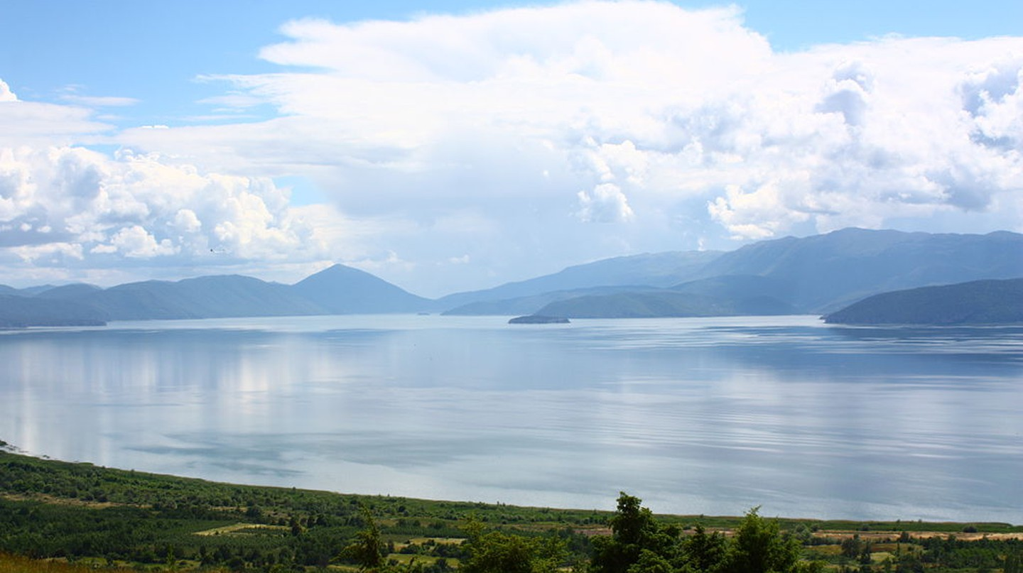 Lake Prespa, which lies on the borders of Greece, FYROM and Albania. View from Slivnica Monastery in FYROM
