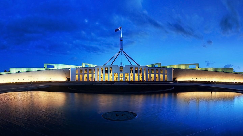 Parliament House Canberra Dusk Panorama   ©  JJ Harrison/WikiCommons