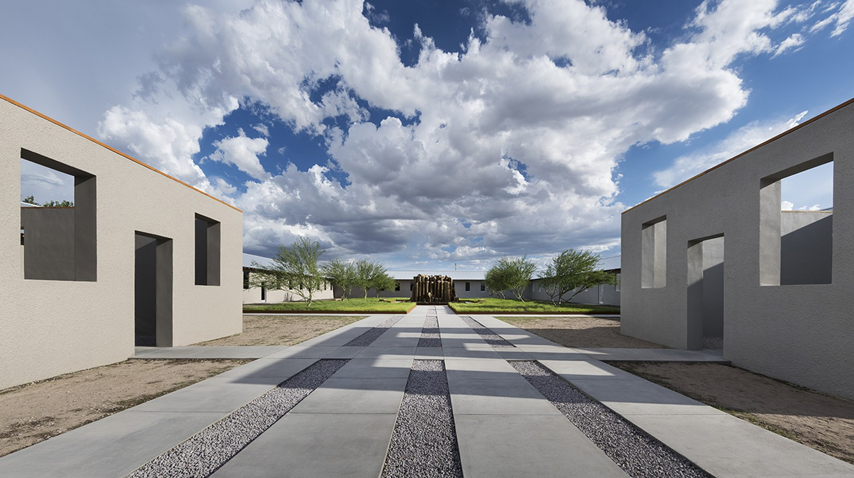Robert Irwin, untitled (dawn to dusk), installation exterior, 2016. | © 2016 Philipp Scholz Rittermann, Courtesy of the Chinati Foundation.