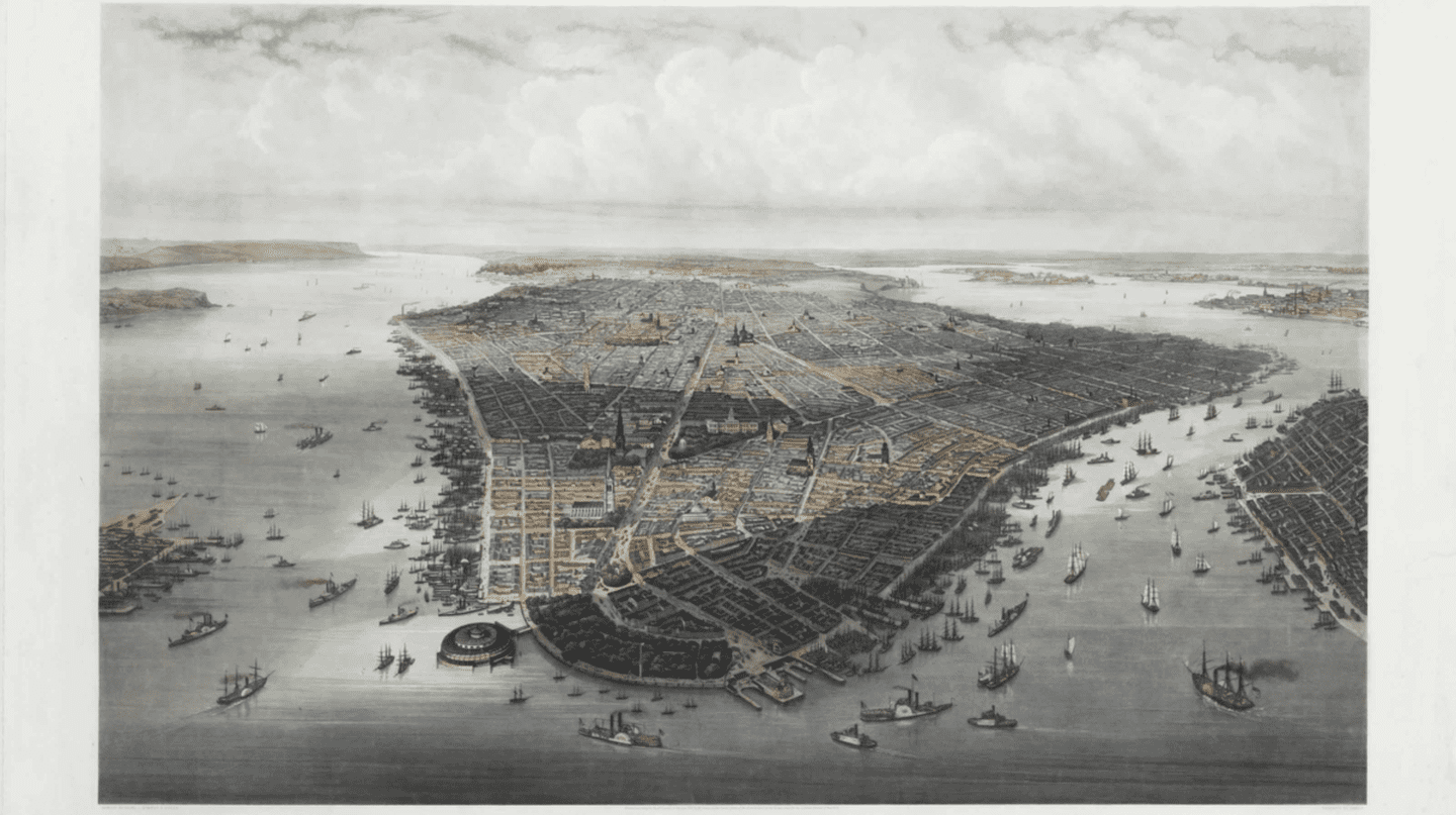 Large bird's-eye view of New York City with Battery Park in the foreground, 1851 | HEINE, Wilhelm (1827-1885) and Robert KUMMER (1810-1889)/ Wikicommons