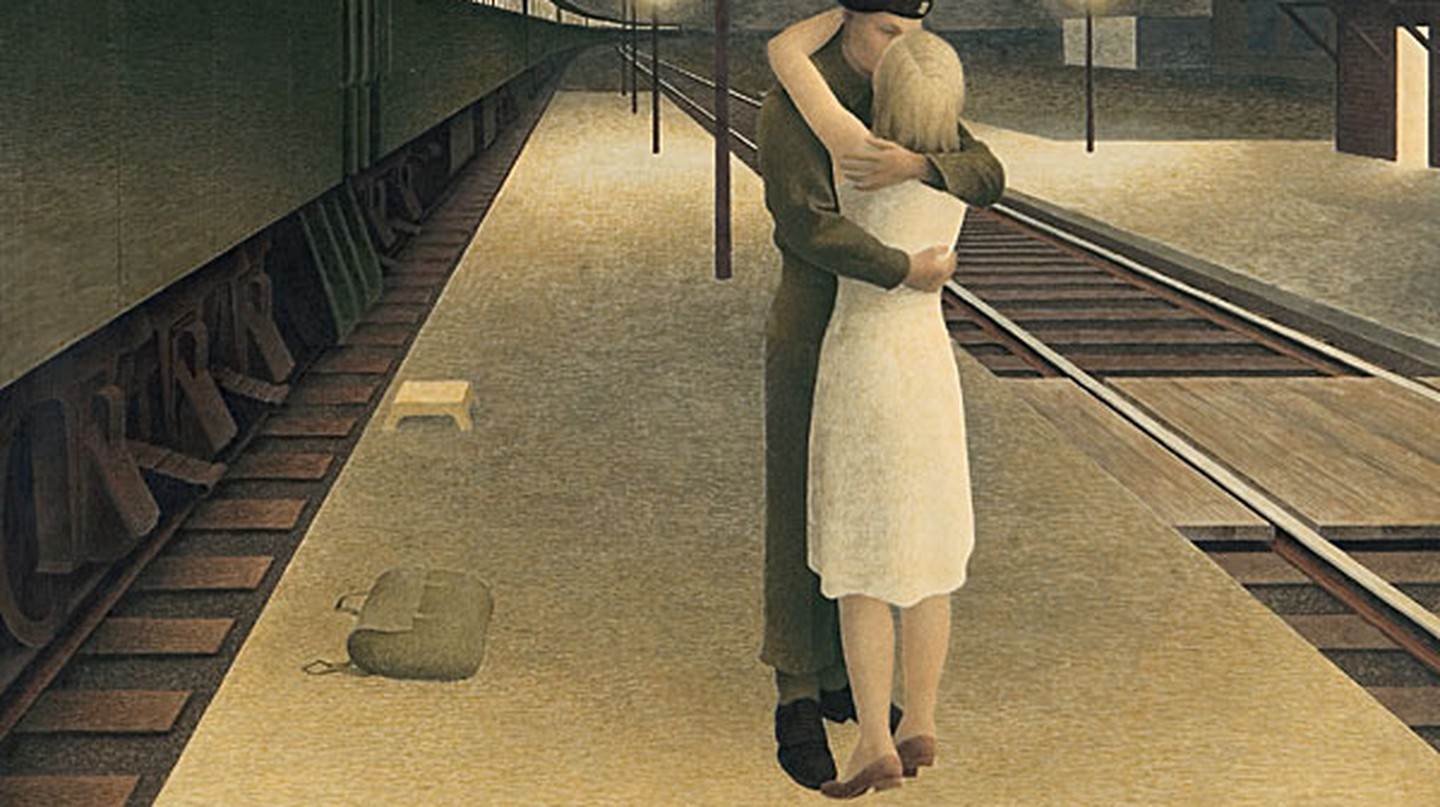 Alex Colville, Soldier and Girl at Station, 1953. Glazed tempera on hardboard, 40.6 x 61 cm. The Thomson Collection   © Art Gallery of Ontario