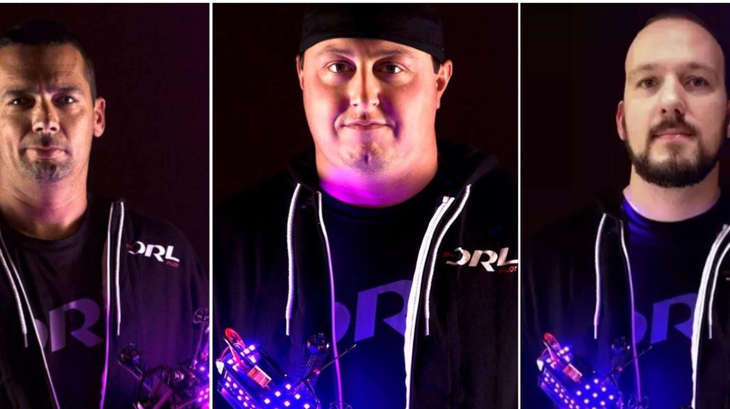 Ron Richter Jr., Steve Zoumas and Chris Haskins are pilots in the Drone Racing League | Courtesy of Facebook