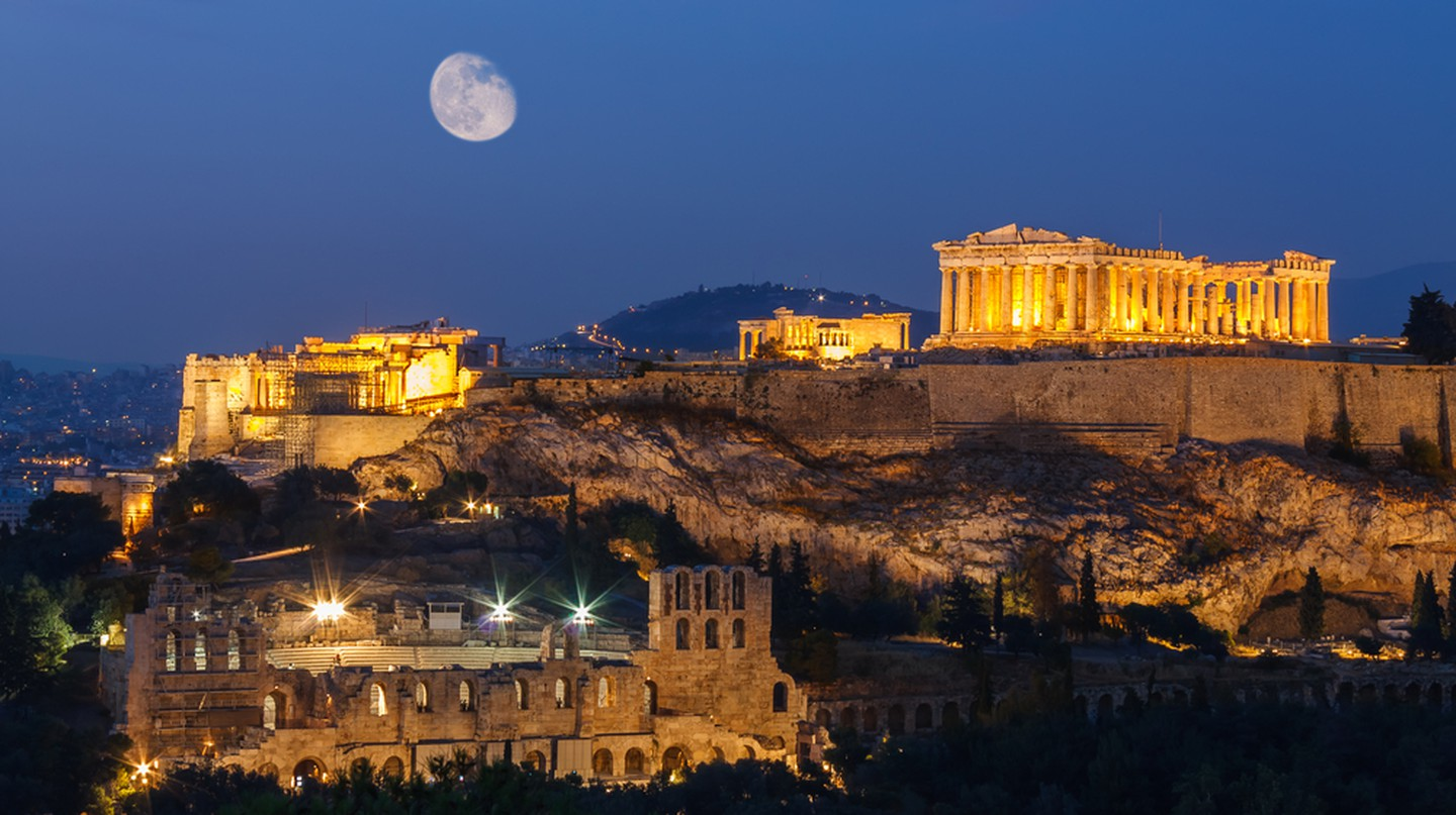 Parthenon and Herodium construction in Acropolis Hill in Athens © Nick Pavlakis / Shutterstock