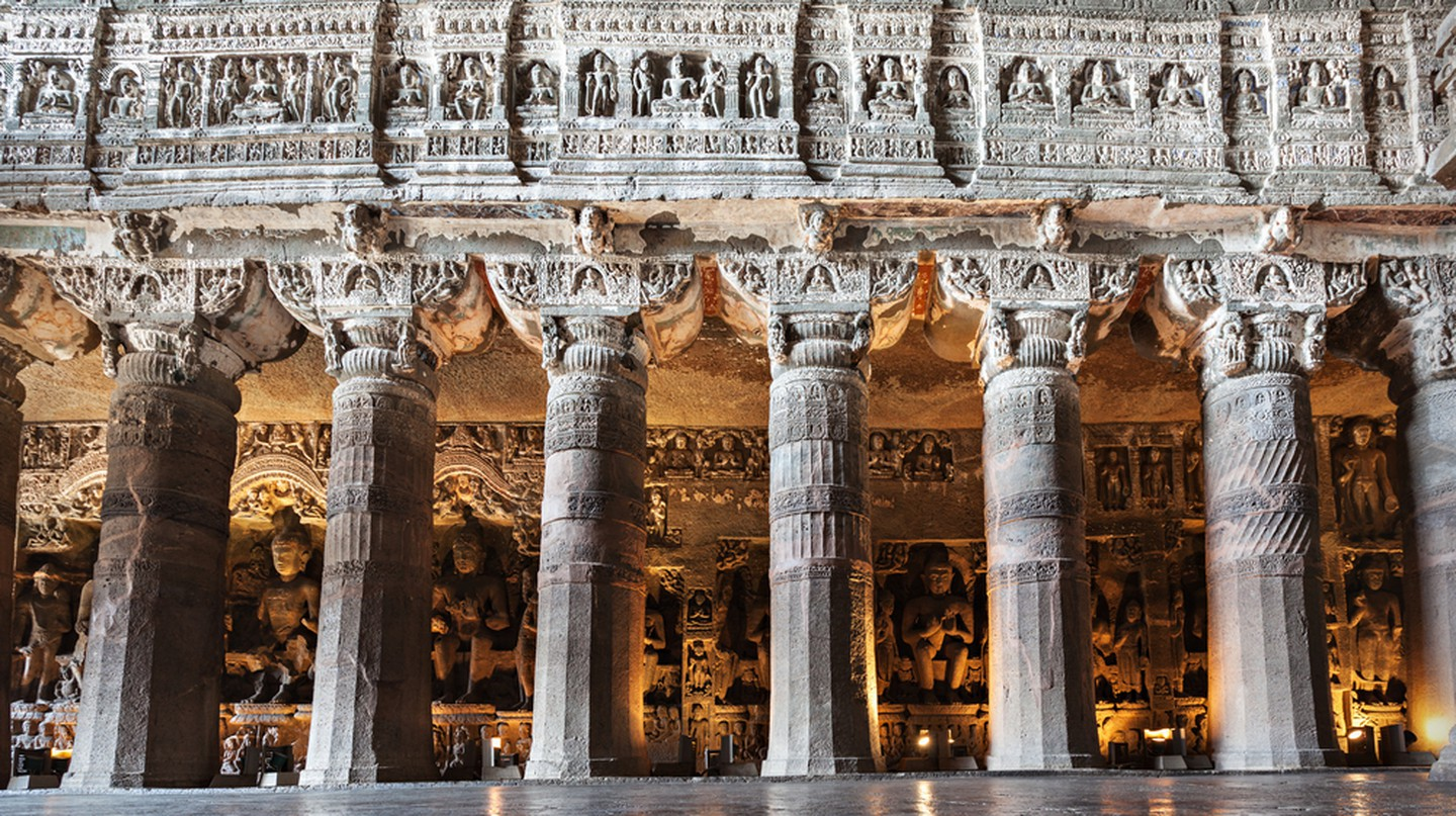 Ajanta caves near Aurangabad, Maharashtra state in India©saiko3p