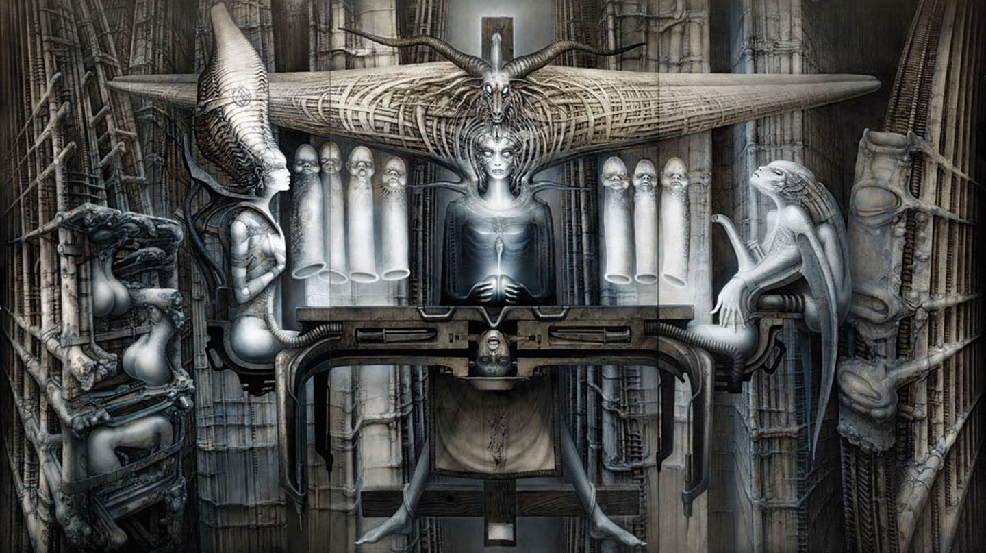© Carmen Giger (HR Giger Estate) / p. 134–136 The Spell II, 1974 Acrylic and India ink on paper on wood