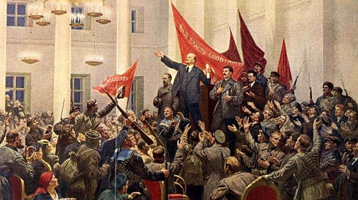 Lenin declares the Victory of the Socialist Revolution. The 7th of Nov, 1917, Stalin, not Trotsky, stands next to Lenin. 1953, by Sokolov-Skalia