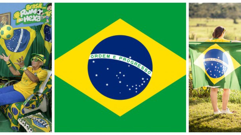 Brazil fan |Pixabay, Brazilian Flag | Public domain/WikiCommons, Brazil flags | Pixabay