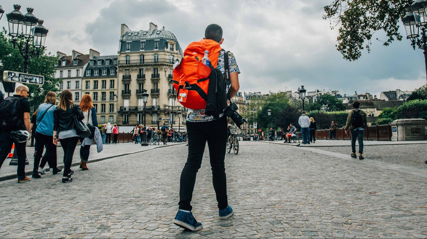 A backpacker explores Paris