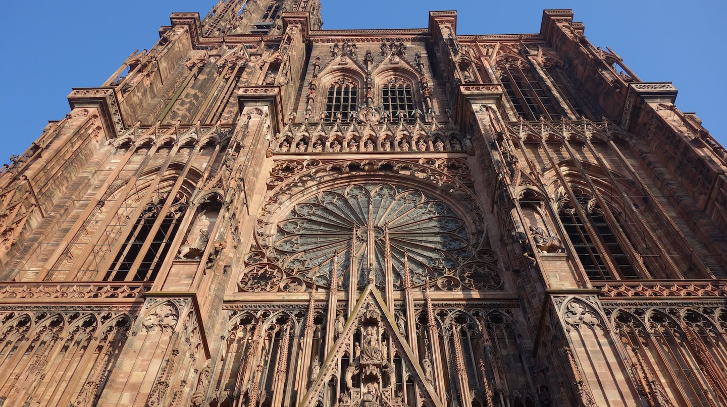 The imposing facade of Strasbourg Cathedral ©Sylvia Edwards Davis