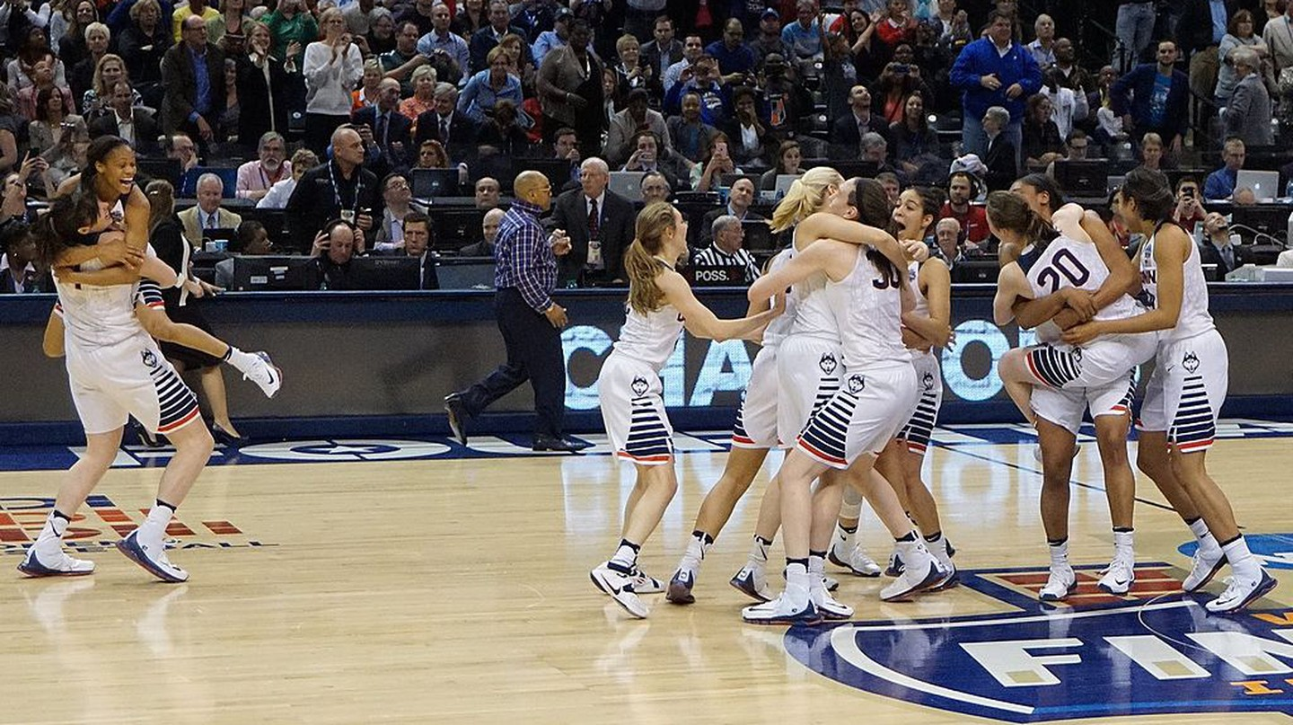 The UConn Huskies, above celebrating their 2016 NCAA championship, haven't lost in 100 games | © Danny Karwoski/Wikimedia