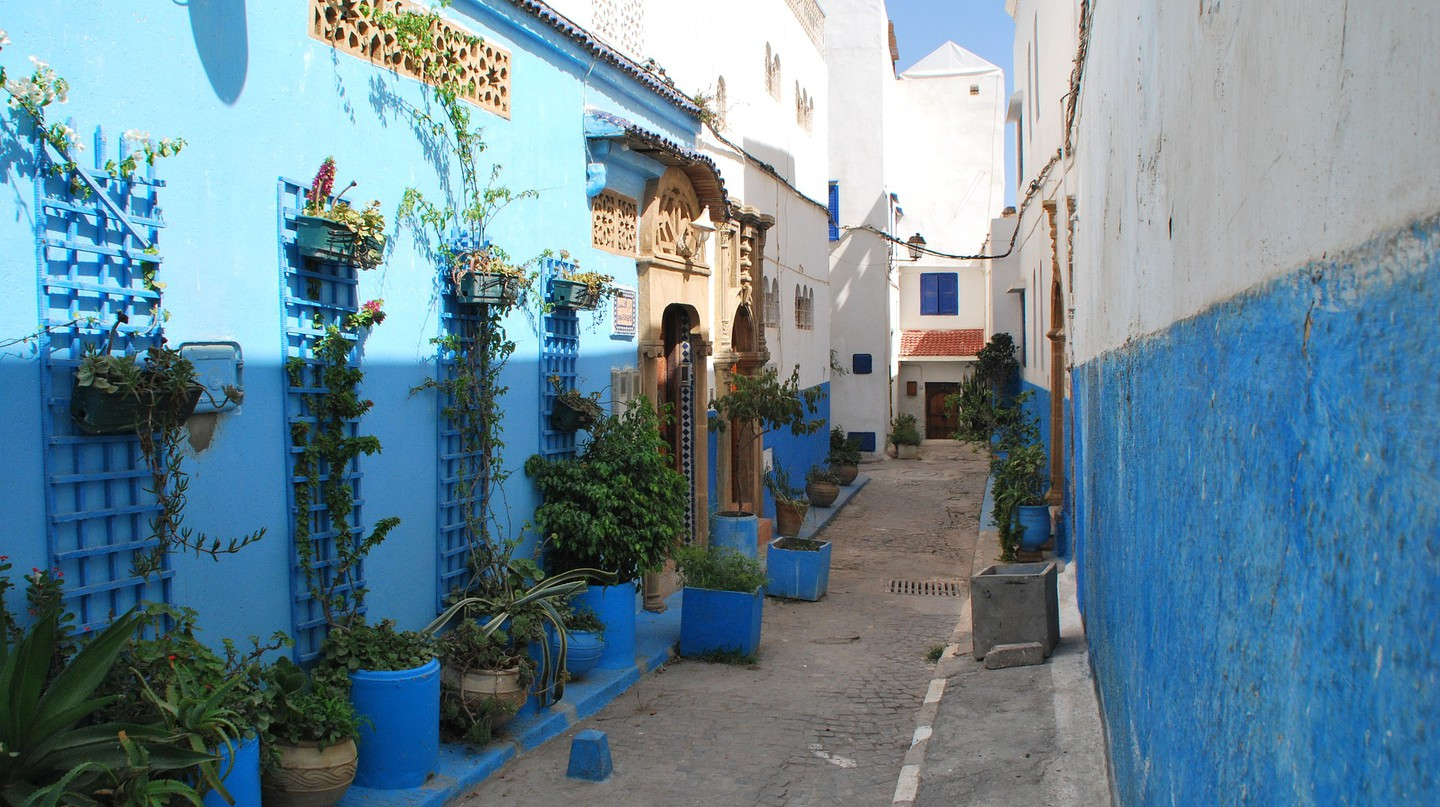 The buildings in Rabat's Kasbah of the Udayas are painted blue