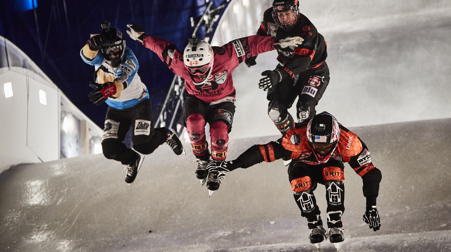 Crashed Ice competitors Cameron Naasz, Dean Moriarity, Marco Dallago, Kyle Croxall take a jump| © Red Bull Content Pool