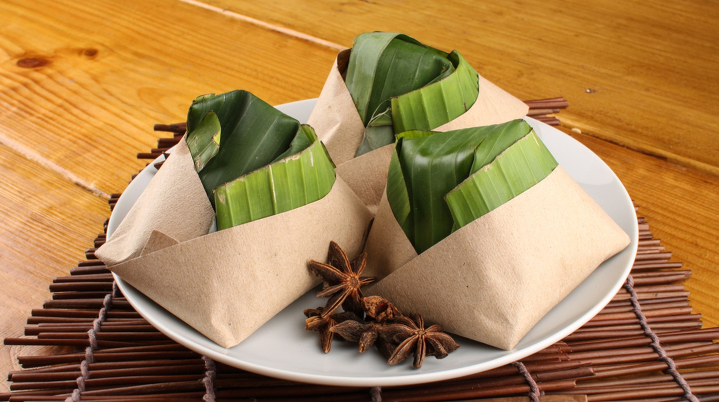 Malaysian nasi lemak packed with banana leaf