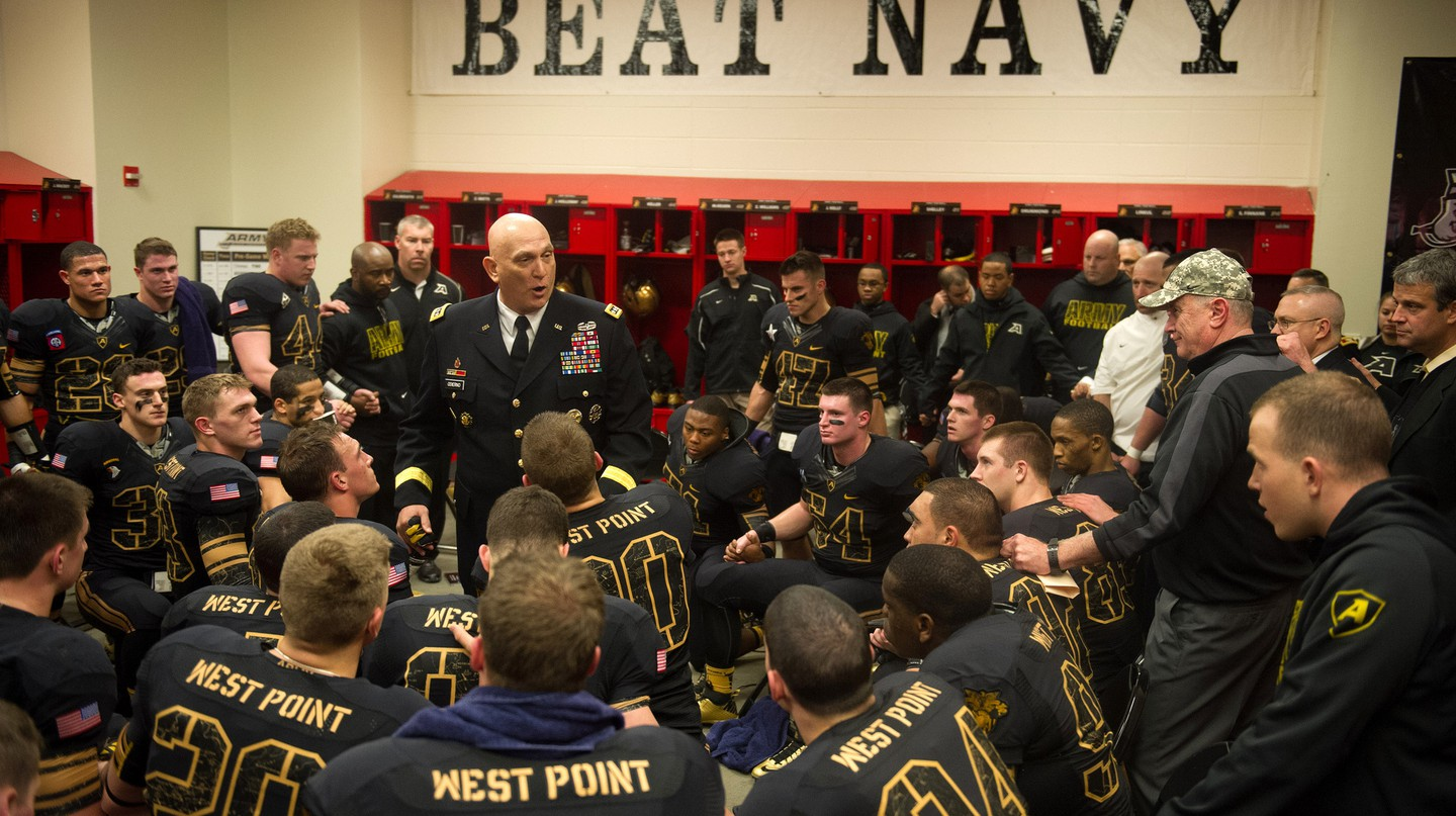 U.S. Army Chief of Staff Gen. Raymond T. Odierno gives an emotional locker room speech to Army Black Knights football players. © The U.S. Army/flickr.com