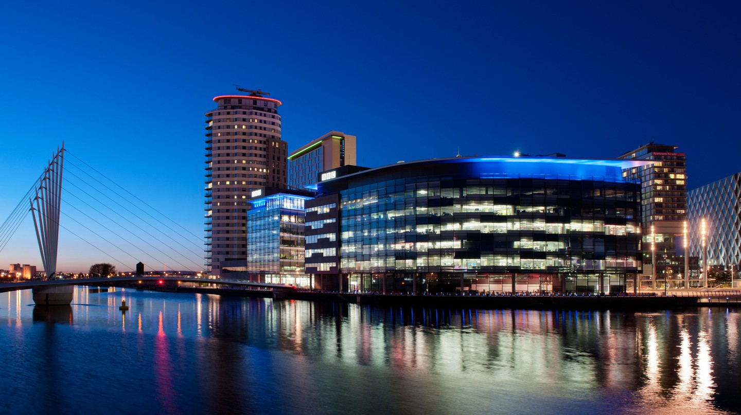The BBC studios and offices at Media City, near Salford Quays