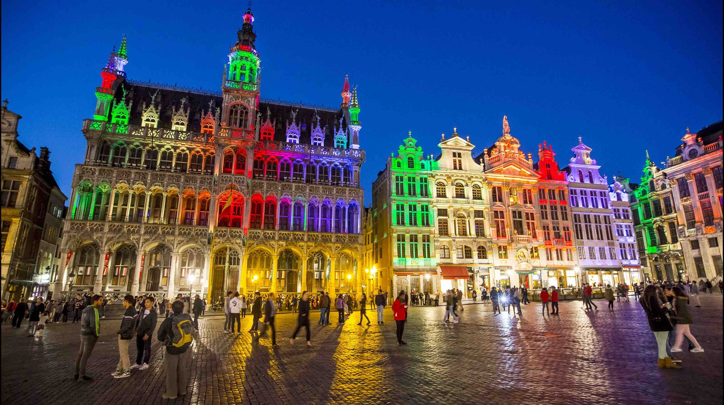 Brussels iconic Grand Place lit up in rainbow colors during Pride | Courtesy of visitbrussels.be