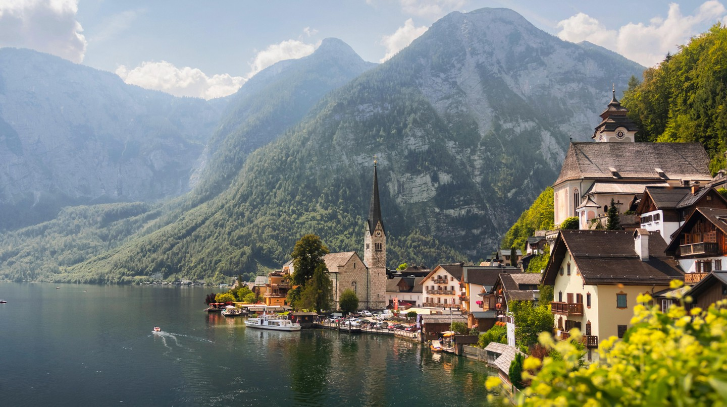 Hallstatt village in High Alps mountains, Austria