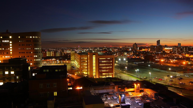 Leeds skyline at dusk