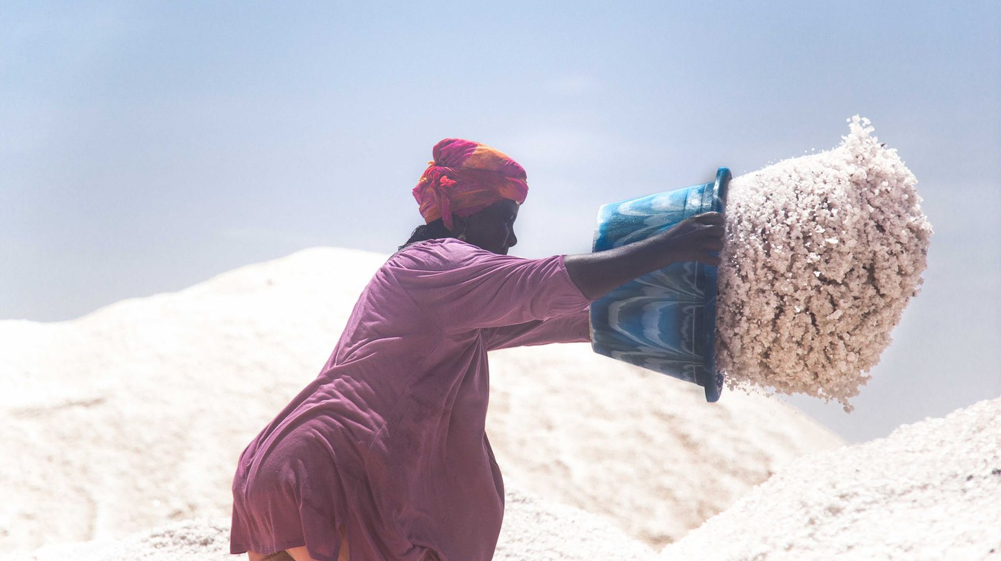 "A photo from Gil Miranda's ""Women of the Salt"" series on the largest salt mine in Senegal 