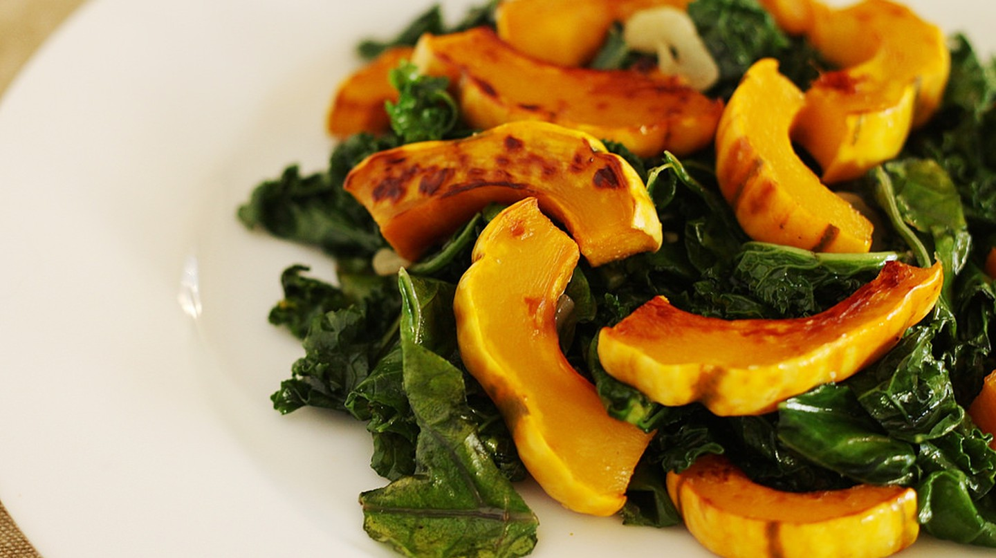 "<a href=""https://www.flickr.com/photos/notahipster/8304614394"">Roasted squash with kale 