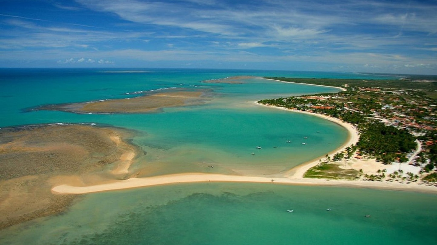 Aerial view of the stunning coastline of Porto Seguro, Bahia