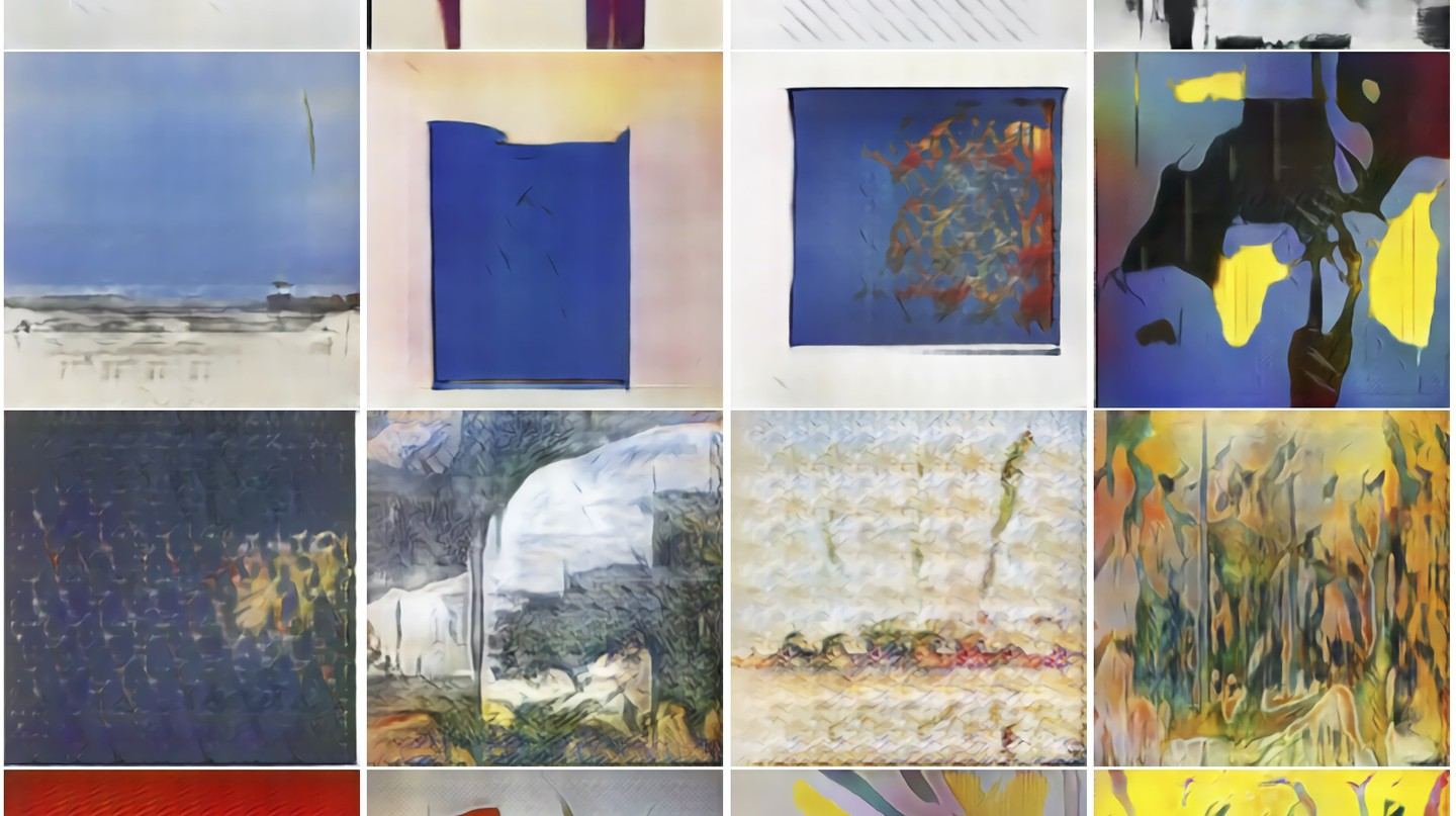 AI-Generated artworks   Courtesy of the Art and Artificial Intelligence Lab at Rutgers University.