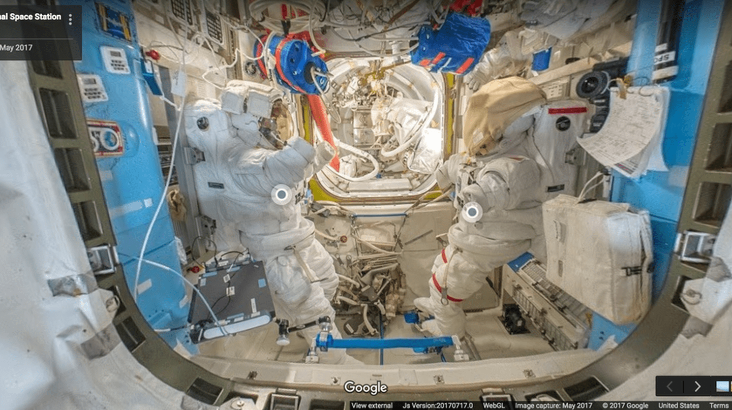 Joint Airlock (Quest) - This area contains space suits also known as Extravehicular Mobility Units | Image Courtesy of Google