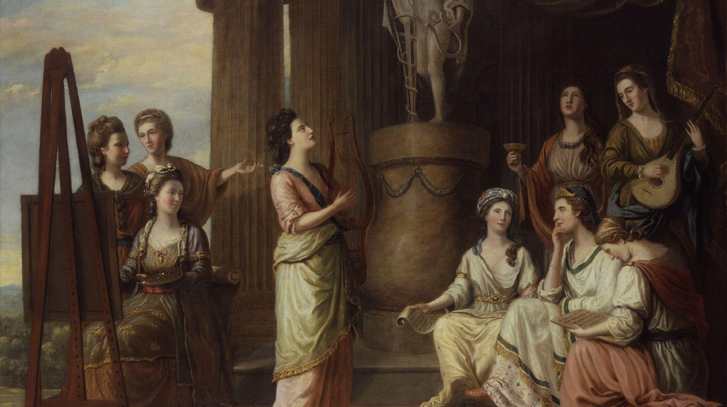 'Portrait in the Characters of the Nine Muses in the Temple of Apollo' (1778) by Richard Samuel. All the sitters are famous bluestockings of the day  |  ©National Portrait Gallery/Wikimedia Commons