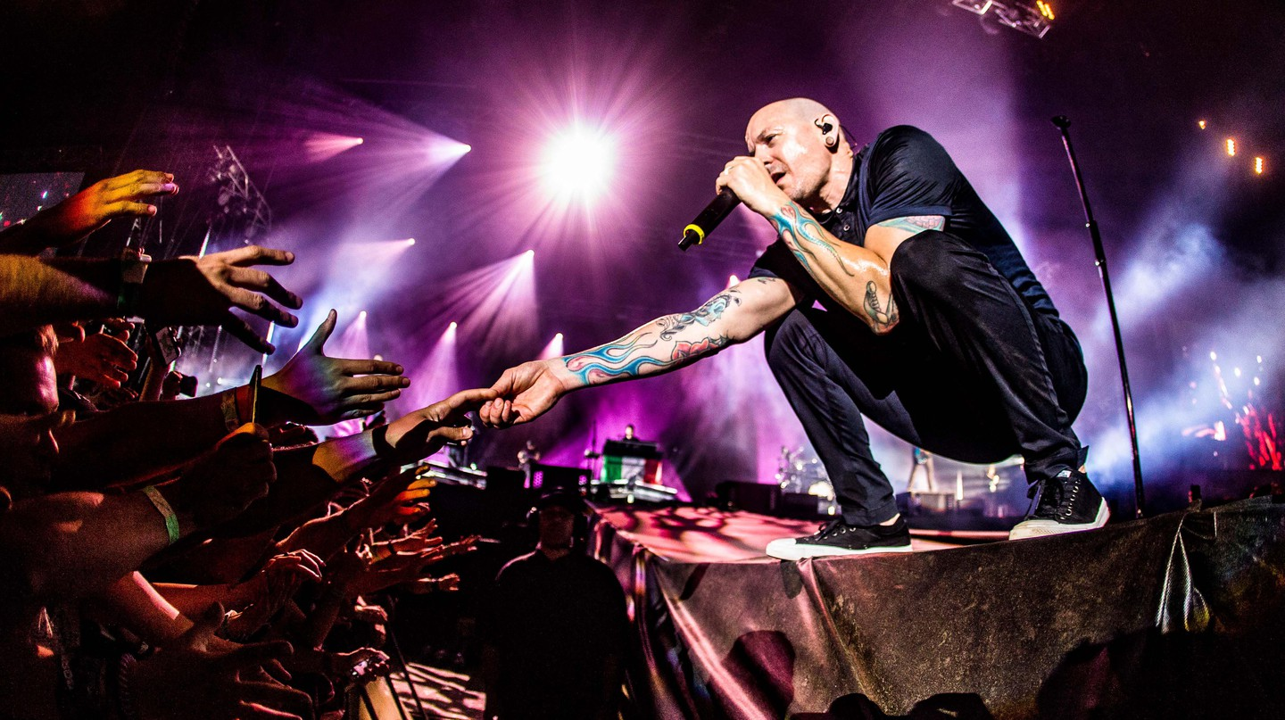 Chester Bennington performing with Linkin Park Mairo Cinquetti/REX/Shutterstock