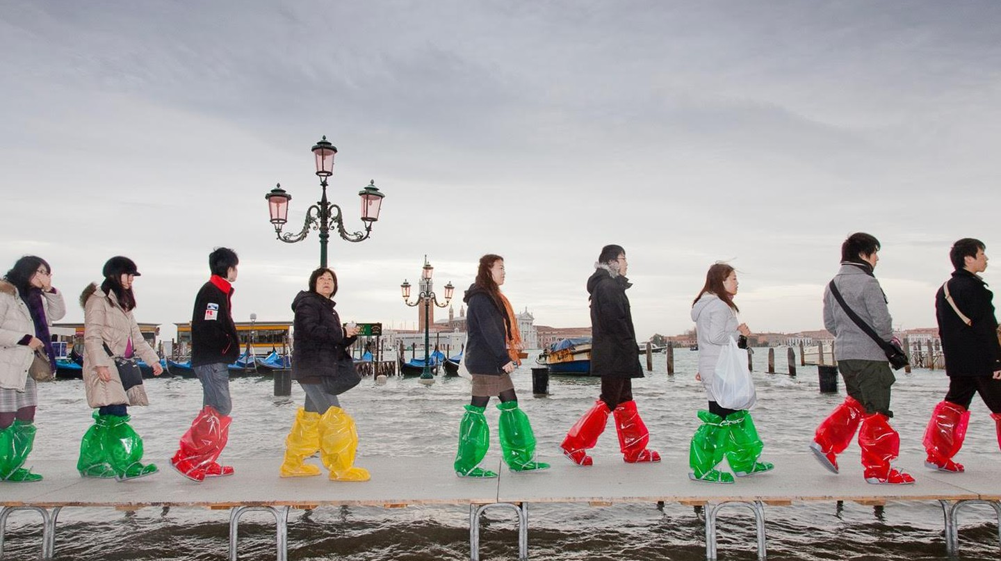 Tour group walks through high water | Courtesy of Federico Sutera