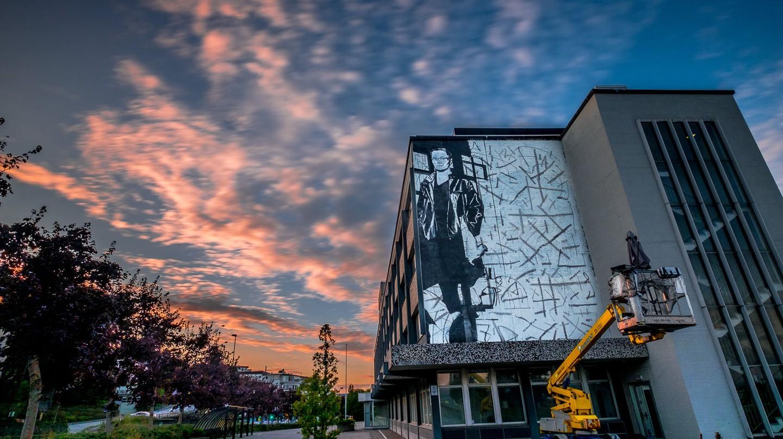 Installing a Nuart mural | Photo © Brian Tallman
