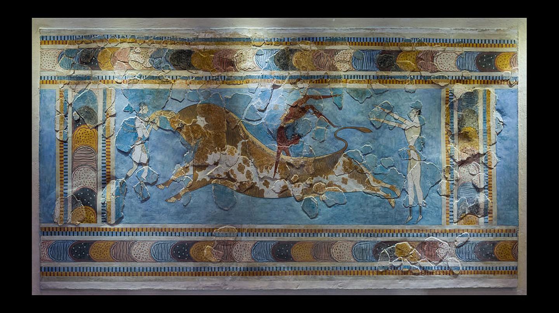 The bull-leaping fresco, original. Found in Knossos palace, Crete, Greece. (1600 - 1450 BCE )    © Jebulon/WikiCommons