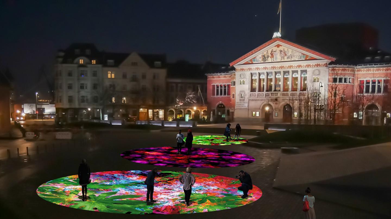 Render of Miguel Chevalier's interactive light installation at Bispetorvet | Courtesy of Aarhus Festival