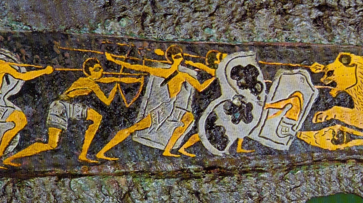 Depiction of a hunting scene on a dagger found in Grave Circle A, Mycenae, 16th century BC | © Unknown/WikiCommons