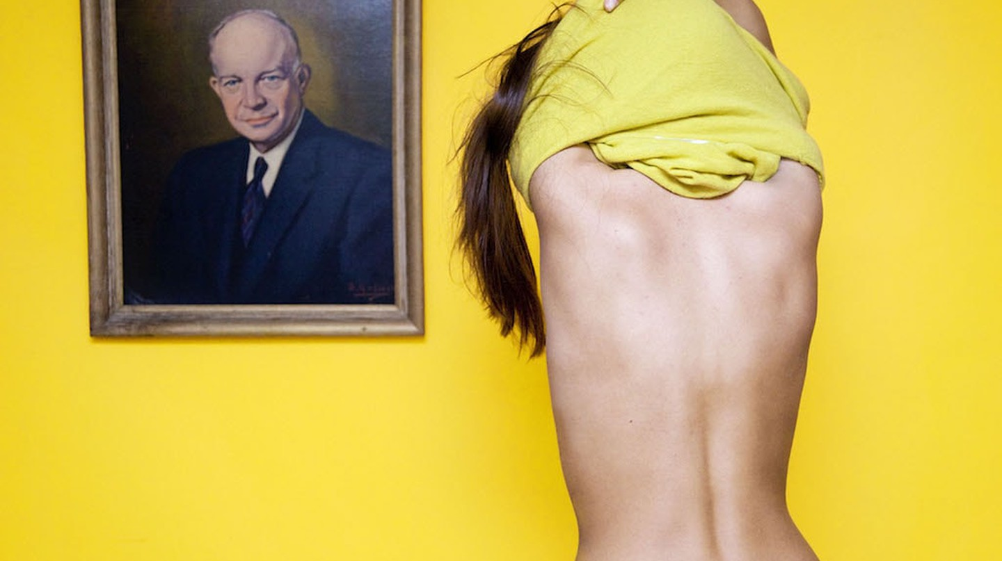 """""""In Ohio, it is illegal to disrobe in front of a portrait of a man."""" From I Fought the Law: Photographs by Olivia Locher of the Strangest Laws from Each of the 50 States, published by Chronicle Books 2017 
