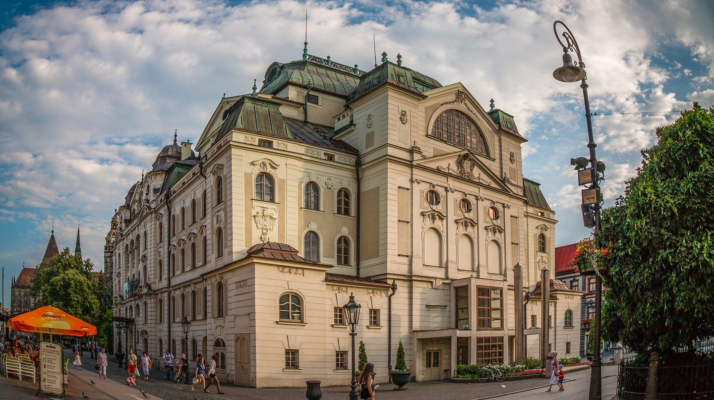 The beautiful old theater building in the historic center of Kosice